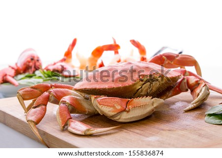 Preparing dungeness crab, red lobster and shrimps in the kitchen on the cutting board, copy space at the top - stock photo