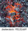 preparing for outdoors charcoal-barbecuing - stock photo