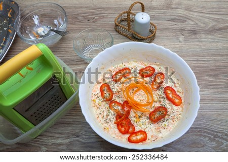 Preparing fresh vitamin salad - stock photo