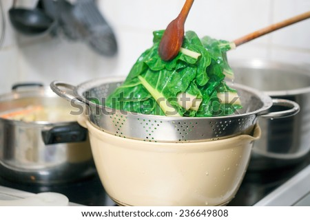 Preparing healthy lunch in the kitchen, blanching chard using kitchen utensils - stock photo