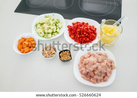 Preparing meal with meat