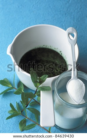Preparing mint syrup - stock photo