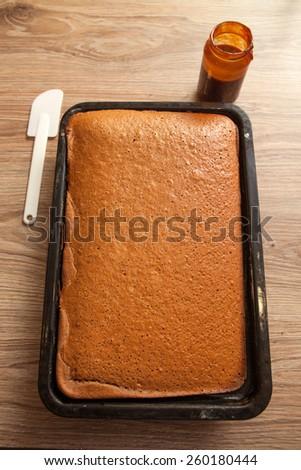 Preparing Sweet Chocolate Cake - stock photo