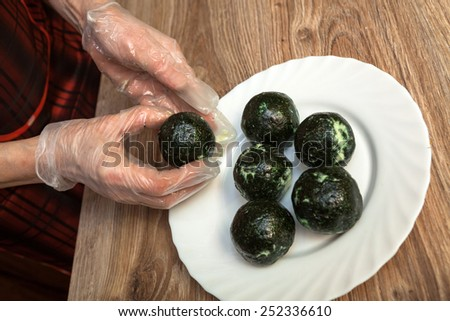 Preparing watermelon like cake dessert - stock photo