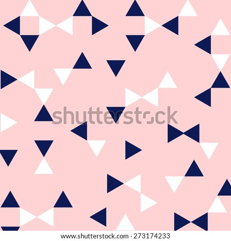 Preppy Pink, Navy, & White Triangle Geometric Pattern