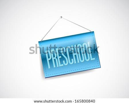 preschool blue hanging sign illustration design over a white background - stock photo