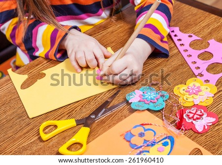 Preschool child create shapes and designs for children - stock photo