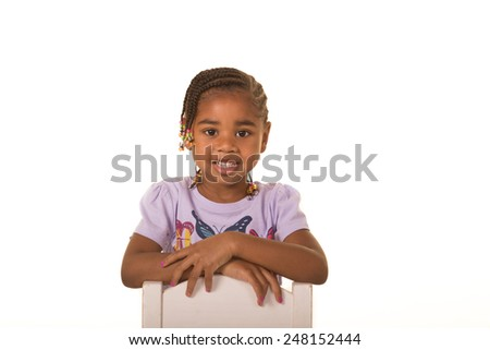 Preschool child isolated on white