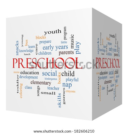 Preschool 3D cube Word Cloud Concept with great terms such as youth, education, learn and more. - stock photo