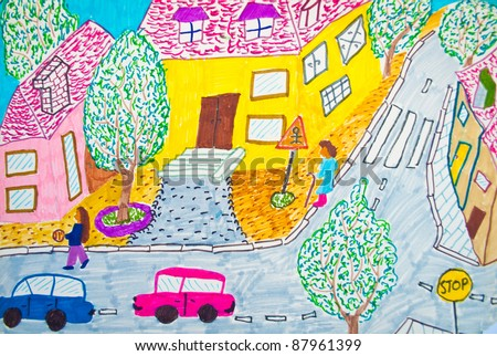 Preschool kid's painting - stock photo