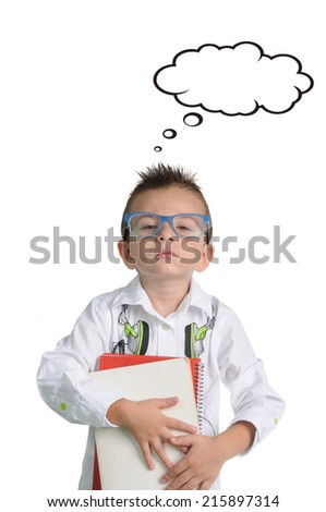 Preschool student with books, isolated on white background - stock photo