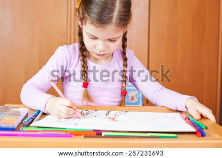 Preschooler child drawing
