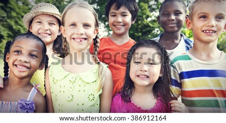 Preschooler Children Friends Smiling Happiness Concept - stock photo