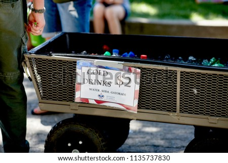 Prescott, Arizona, USA - June 30, 2018: Cart filled with cold drinks for sale by the Boy Scouts of America at the 4th of July festival in downtown Prescott