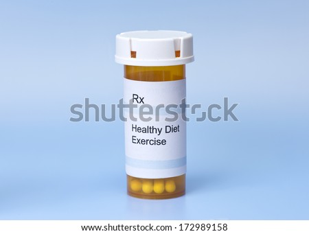Prescription for well-being on blue background.