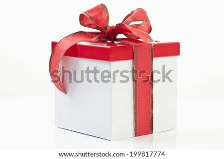 Present box on white background