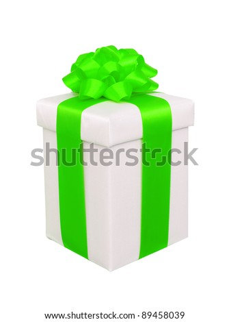 present box with green bow isolated on white - stock photo
