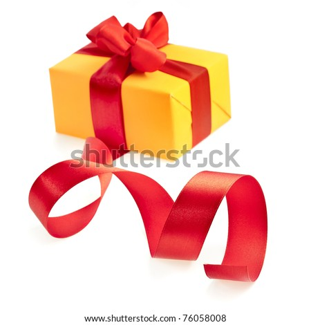 present box with red bow - stock photo
