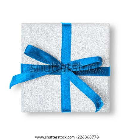 Present box with ribbon isolated on white background. - stock photo