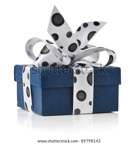 present box wrapped ribbon bow with black spots isolated on white background  - stock photo