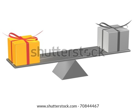 Present boxes on seesaw. 3d render illustration.