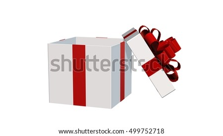 Present gift box for Christmas or birthday with red ribbons and open lid isolated on white - 3d rendering
