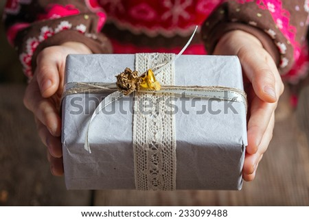 present in children's hands  - stock photo