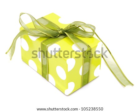 Present In Green Gift Box With Green & Ribbon Bow Isolated On White Background ~ Clipping Path Included - stock photo