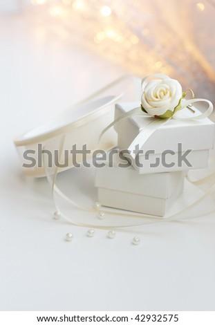 Present white box and decoration - stock photo