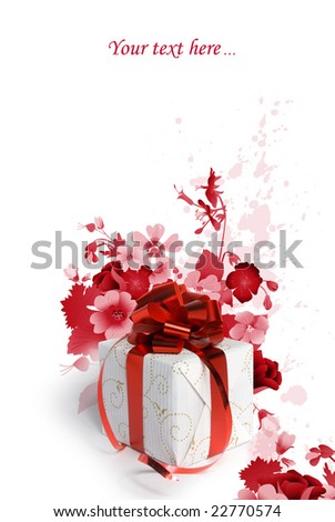Present with flowers  (easy to remove the text) - stock photo