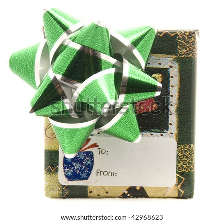 Present with Green Bow and Tag