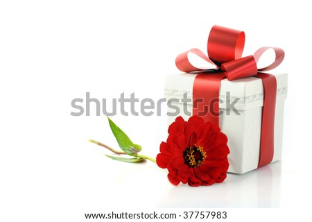 present with red ribbon and flower. Copy space ready to use