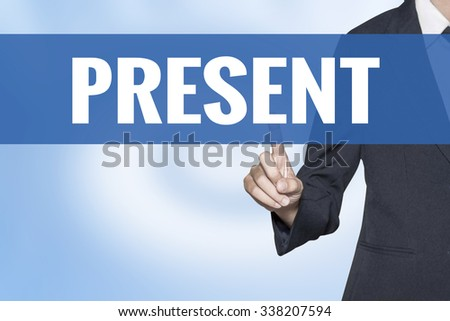 Present word on virtual screen touch by business woman blue background - stock photo