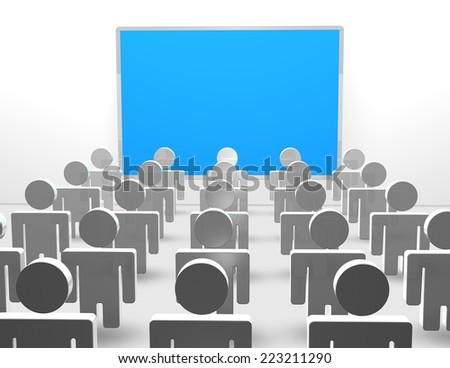 presentation concept illustration with blue board and 3d people watching and learning - stock photo