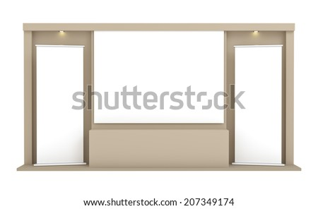 Presentation in auditorium, empty roll-up banners against the brown wall - stock photo