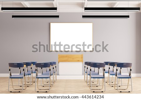 Presentation in business seminar room with many chairs (3D Rendering) - stock photo