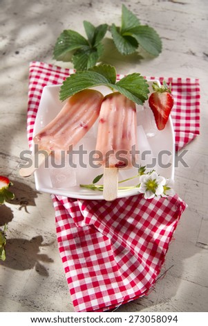 Presentation of a cream made of fruit on the plate strawberry - stock photo