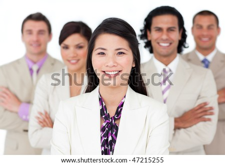 Presentation of an international business team against a white background