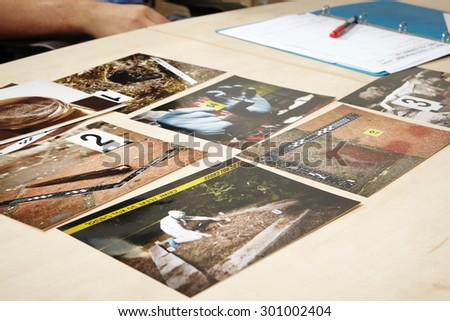 Presentation of evidences of crimes - stock photo