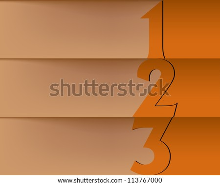 Presentation slide template editable at your choosing with your words. Numbered background 1,  2, 3, one two three. Business background. Slide concept. - stock photo