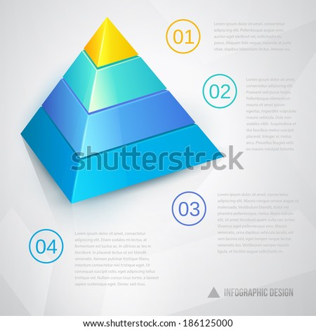 Presentation template with pyramidal diagram ant text - stock photo