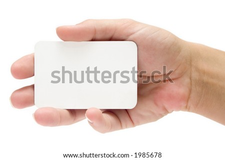 Presenting a Business Card - stock photo