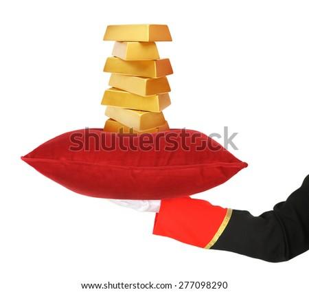 Presenting gold - stock photo