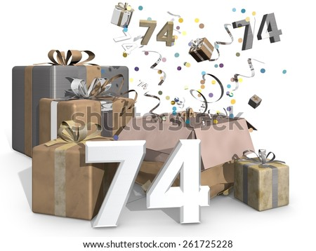 Presents and confetti. Industrial look, metallic colors like gold and silver for a man or a womans birthday. On front of the image 3D number 74 - stock photo
