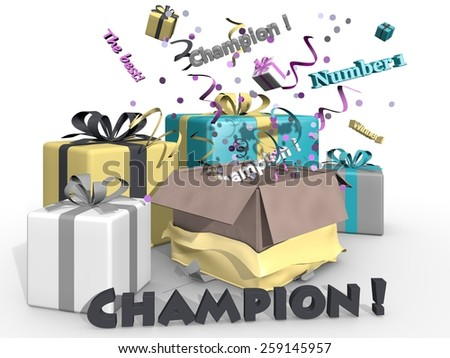 Presents and party for the champion