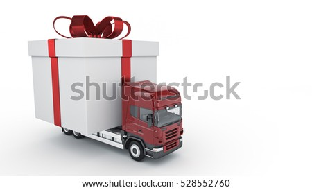 Presents delivery service concept, truck with a gift box. 3d rendering
