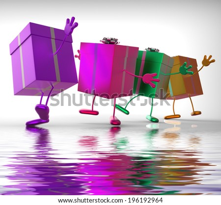 Presents Displaying Buy Gift For Special Occasion - stock photo