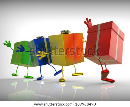 Presents Meaning Shopping For Special Or Perfect Gift - stock photo