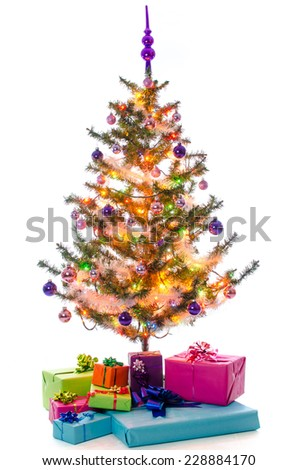 Presents under the Christmas tree, isolated on white