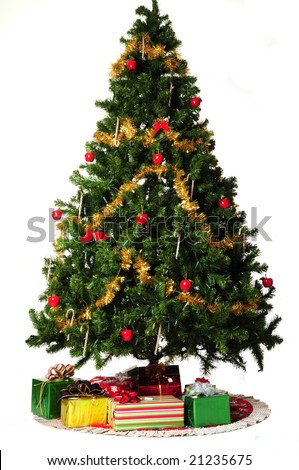 presents under the christmas tree on white background